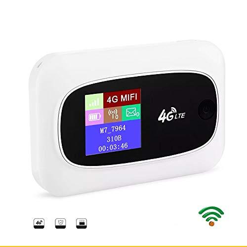 KuWFi - Router móvil 4G libre de dispositivos de router inalámbrico con ranura para tarjeta SIM para soporte de viaje B1, B3, B5, B7, B8, B20 (funciona con pilas)