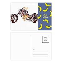 カラフルなバイクアート粒のシルエット バナナのポストカードセットサンクスカード郵送側20個