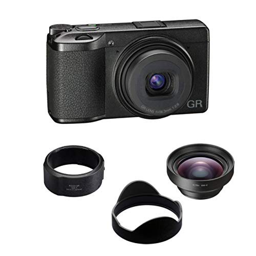 Ricoh GR III 24MP Compact Digital Camera with GW-4 Wide Conversion Lens and GA-1 Lens Adapter