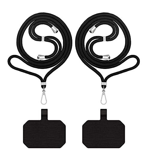 Nupcknn 2 cadenas universales ajustables para smartphone (iPhone, Samsung, Huawei, Xiaomi), color negro