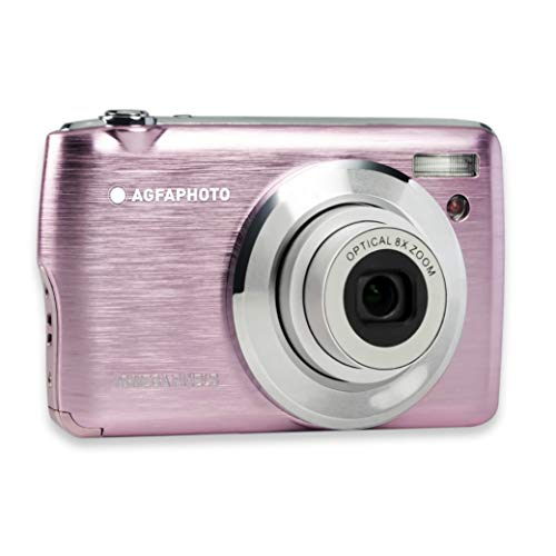 AGFA Foto Realishot DC8200 - Cámara de Fotos Digital compacta (18 MP, vídeo Full HD, Pantalla LCD de 2,7 Pulgadas, Zoom óptico 8X, batería de Litio y Tarjeta SD de 16 GB), Color Rosa