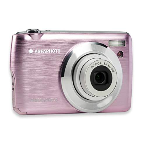 AGFA Foto Realishot DC8200 - Cámara de Fotos Digital compacta (18 MP, vídeo Full HD, Pantalla LCD de 2,7 Pulgadas, Zoom óptico 8X, batería de Litio y Tarjeta SD de 16 GB), Color Rosa