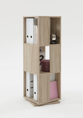 FMD furniture 291-001E, drehbares Regal, in Ausführung Eiche Nachbildung, Maße ca. 34 x 108 x 34 cm (BHT), Melaminharz beschichtete Spanplatte