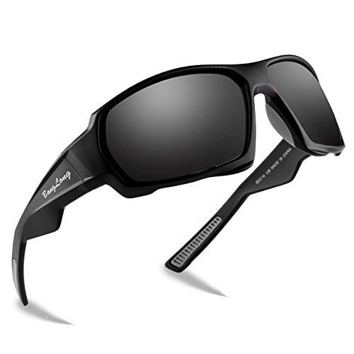 BangLong Gafas de sol polarizadas, gafas deportivas con protección UV400 para hombres y mujeres, conducción, carrera, golf, tenis, ciclismo, pesca, golf, gafas de sol (Negro/Gris)