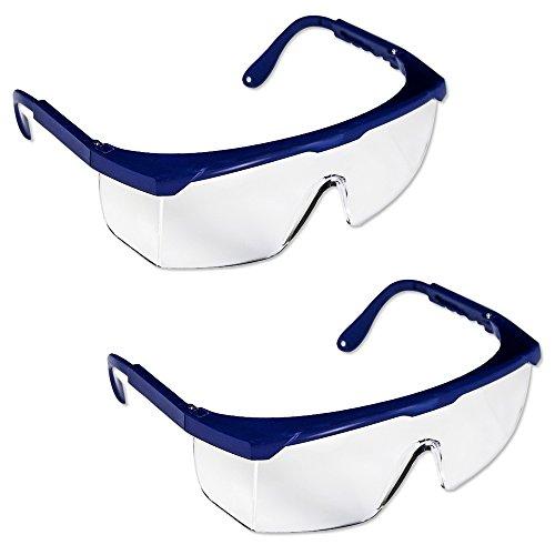 2 x Gafas de Seguridad - Policarbonato Incolora Protectoras [ PACK ] - Ligera y Regulable en Extensión - Usos: Bricolaje, Industrial, Jardineros, Laboratorios, Limpieza