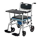 Silla de baño para ancianos, silla de ruedas con mesa de comedor, pedal plegable y cojín de esponja, silla de ducha conbrazos y ruedas, andador con asiento y ruedas para ancianos, personas discapacit