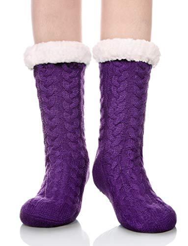 DYW Women's Slipper Socks Winter Thermal Fleece Lining Knit Fuzzy Cozy Non Slip Socks (Purple)