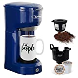 Single Serve Coffee Maker, Single Cup Coffee Maker for Single Cup Capsule Pod Ground Coffee, Coffee Machine with Permanent Filter 6-14oz Reservoir One-Touch Button 1000W Fast Brew Auto Shut Off, Blue