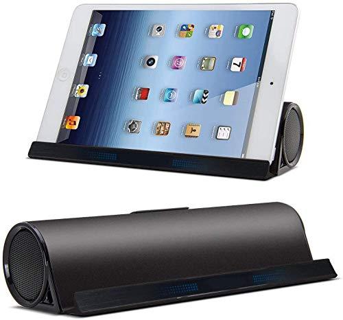 Gymqian Altavoz Inalámbrico Bluetooth, Altavoz Portátil Del Soporte Del Soporte de la Tableta, Micrófono Incorporado, Conductores Duales Bass Estéreo Altavoz de la Base para Ipad, T