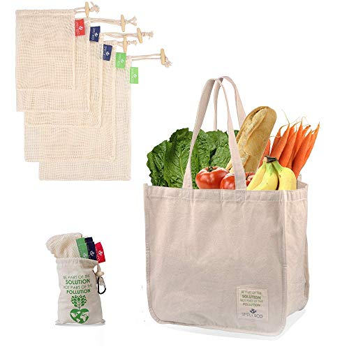 SIMPLY ECO Sturdy Reusable Canvas Shopping Tote Bag for Groceries and Cotton Reusable Mesh Produce Bags with Drawstring for Fruits and Veggies LMS