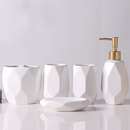 HYLR Ceramica Set da Bagno 5 Pezzi Forniture da Bagno in Stile Europeo Compreso Dispenser di Sapone Portaspazzolino portasapone scaldasalviette