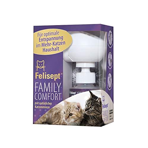Felisept Family Comfort - Entspannungsmittel im Mehrkatzenhaushalt - Starter Set (Diffusor + Flakon) - Mit natürlicher Katzenminze - Wohlbefinden & Entspannung für Katzen