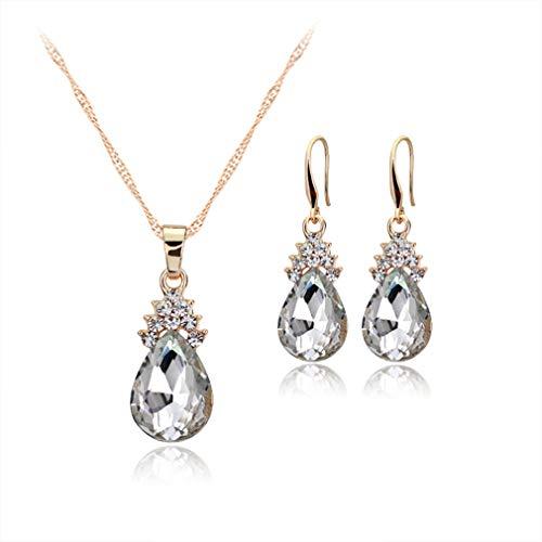 ITVIP - Elegante Juego de Joyas para Mujer con Incrustaciones de Diamante y Gotas de Agua de Cristal, Collar Colgante + Pendientes, Regalo de cumpleaños