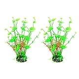 2 plantas artificiales de acuario, plantas de pecera, decoración artificial para peceras, utilizadas para plantas hidropónicas de simulación de acuario para el hogar y la oficina
