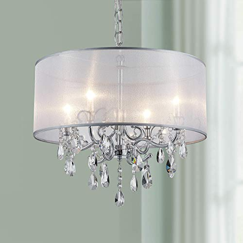Bestier Modern Elegant Crystal Pendant Drum Chandelier 4 Light Chrome Lighting Fixture LED Ceiling Light Dia 19 in x H 26 in