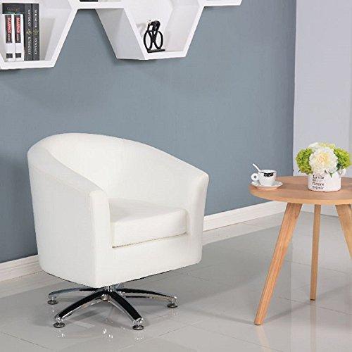 Fauteuil Pivotant en Cuir, Chaise Pivotante, Fauteuil Pour Salle à manger, Séjour, Réception 71W x 64D x 77H cm blanc