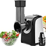 Flyerstoy Professional Salad Maker Electric Slicer/Shredder with One-Touch Control and 4 Free Attachments for fruits, vegetables, and cheeses (Black)
