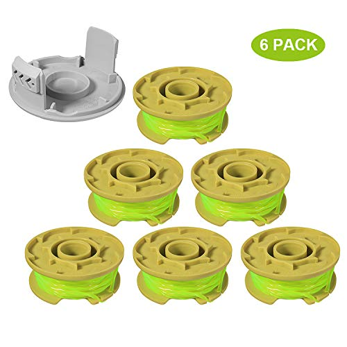 """Eyoloty 11ft 0.080"""" Replacement Trimmer Spool for Ryobi One Plus AC80RL3 18v 24v and 40v Cordless Trimmers Line Refills Weed Wacker Auto-Feed Twist Single Line Parts (6 Pack+1 Cap)"""