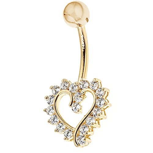 Ritastephens 14k Solid Gold Cubic Zirconia Open Heart Belly Button Navel Ring Body Art (Yellow or White)