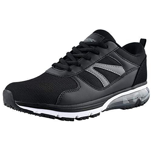 Knixmax Herren Damen Laufschuhe Sneaker Leicht Bequem Atmungsaktiv Sportschuhe Turnschuhe Outdoor Fitnessschuhe Air Schwarz Damen Gr.40 EU