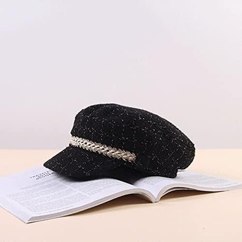 Zboro 2020 New Women Hats Tweed Plaid Newsboy Caps Chain Flat Top Visor Cap Vintage Plaid Beret Cap Female Autumn Winter Hats - Black - 56X58cm