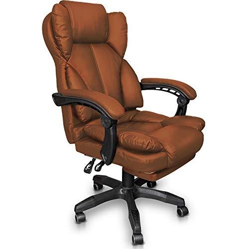 Trisens Schreibtischstuhl Bürostuhl Gamingstuhl Racing Chair Chefsessel mit Fußstütze, Farbe:Braun