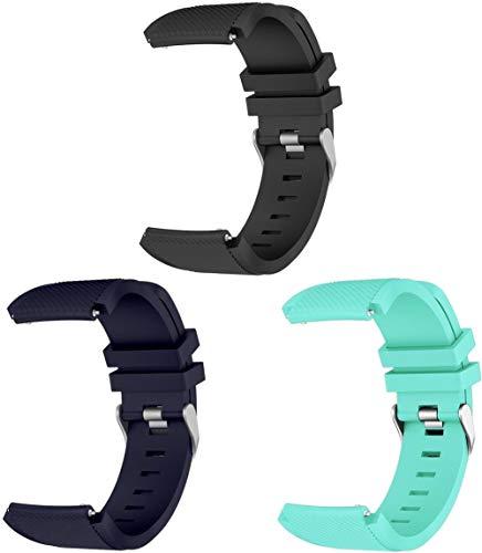 Gransho Correa de Reloj 22mm, Blando Silicona Narrow Delgada Deporte Reemplazo Pulsera (22mm, 3PCS C)