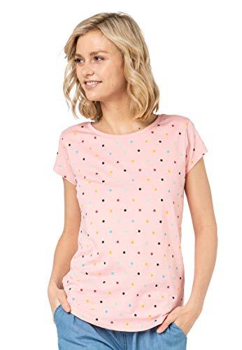 Sublevel Damen Rundhals T-Shirt mit bunten Punkten Rose L
