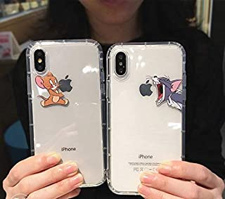 Funny Cartoon Phone Case for iPhone X XS Max XR 8 7 6 6s Plus Cute Cat Tom Soft Silicone Clear (Jerry, for iPhone 7 Plus/8 Plus)