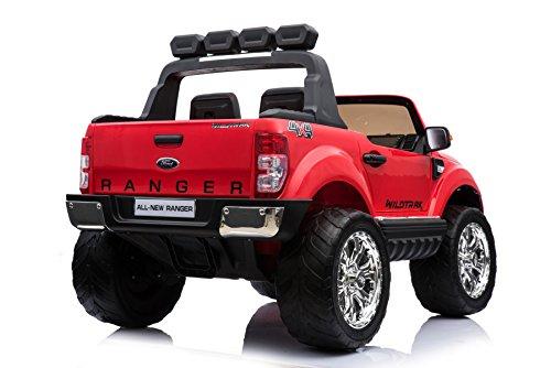 RC Auto kaufen Kinderauto Bild 2: ES-TOYS Kinderfahrzeug - Elektro Auto Ford Ranger, Modell - lizenziert - 2X 12V7AH Akku,4 Motoren 2,4Ghz MP4 Ledersitz Eva 2 Sitzer (Rot)*