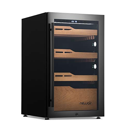 NewAir 840 Count Electronic Cigar Cooler and Humidor, Built-in Humidification System with Opti-Temp Heating and Cooling Function - NCH840BK00 , Black