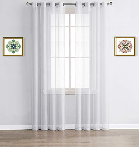 """WARM HOME DESIGNS Pair of 2 Extra Long Size 54"""" (Width) x 120"""" (Length) Bright White Sheer Window Curtains. 2 Elegant Voile Panel Drapes are 108 Inch Wide Total - K White 120"""""""