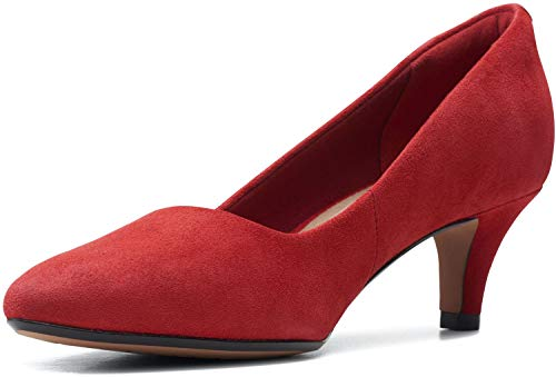 Clarks Women's Linvale Jerica Pump, Red Suede, 11