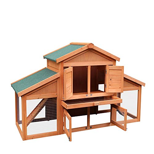 Lowest Prices! KepooMan 70-Inch Wooden Rabbit Hutch Outdoor Pet House Cage for Small Animals with 2 ...