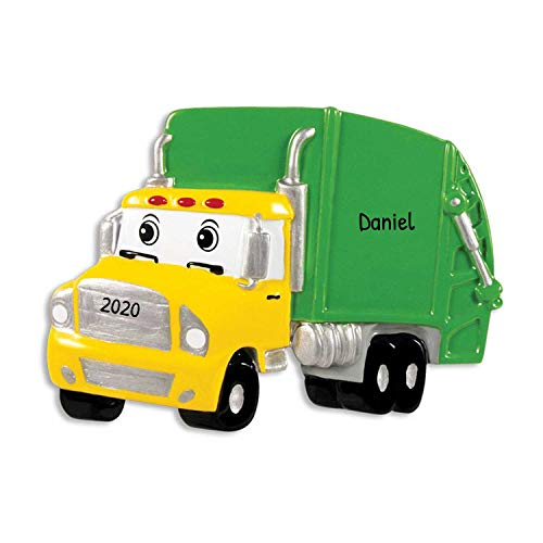 Personalized Garbage Truck Christmas Ornament - Yellow Green Mighty Toy Machine with Eyes - 3rd Grader Trash Collector Boy Toddler Monster Disney Pixar Cars Colossus XXL Kid - Free Customization