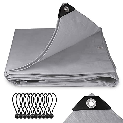Sekey Telo Impermeabile con Occhielli, 200 g/m² PE Telone da Esterni per Legno, Auto, Coperture, Mobili da Giardino, Impermeabile e Antistrappo - 2x3m Grigio