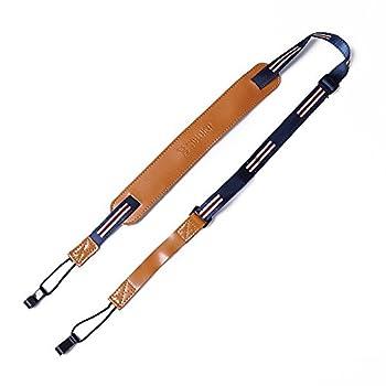 Ukulele Strap Clip on Button Free Ukulele Leather Strap  Yellow-Blue