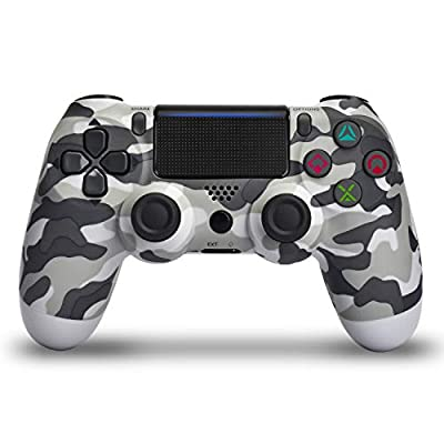 Wireless Controller for PS4 - Remote Joystick for Sony Playstation 4 with Charging Cable and Double Shock (Gray Camouflage,2019 New) by JUEGO