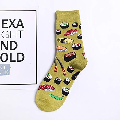 2 Paar Frauen Socken lustige süße Cartoon Obst Banane Avocado Zitrone Ei Keks Donut Essen glücklich Skateboard Socken-A002-3-One Size