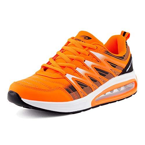 Fusskleidung Herren Damen Sportschuhe Sneaker Dämpfung Laufschuhe Übergröße Neon Jogging Gym Unisex Orange Schwarz EU 39