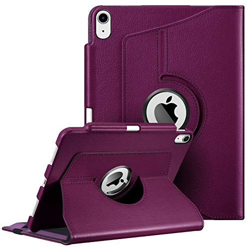 Fintie Case for iPad Air 4 10.9 Inch 2020 with Pencil Holder [Support 2nd Gen Pencil Charging] - 360 Degree Rotating Stand Cover with Auto Sleep/Wake for iPad Air 4th Generation, Purple