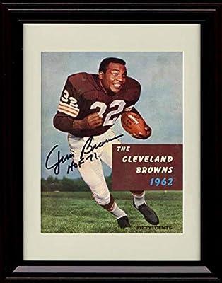 Framed Jim Brown Autograph Replica Print - Running The Ball 1962 Cleveland Brown HOF 71
