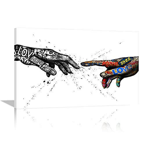 KALAWA Hand of God Graffiti Wall Art Decor Classic Street Art Canvas Colorful Abstract Inspirational Pop Art Painting Print Posters for Living Room Contemporary Home Decor Framed Ready to Hang