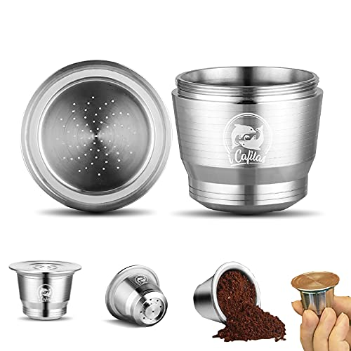 Cápsulas Nespresso Reutilizables, ACELEY cápsula de café Recargable de Acero Inoxidable con Cuchara y Cepillo, cápsulas de café Recargables compatibles con máquinas Nespresso