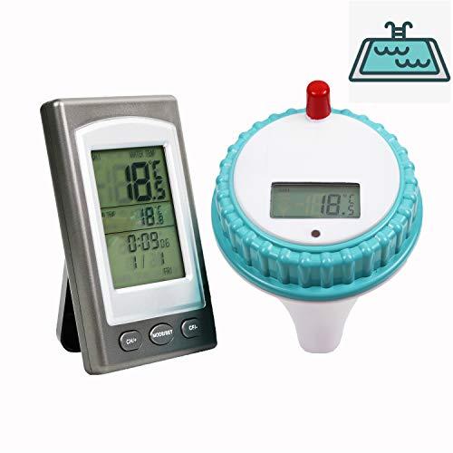 HunterBee kabelloses Spa-Thermometer LED hochpräzise 3-Kanal Sensing Pool Teich Thermometer & schwimmend Wasserdicht Innen- und Außenbereich Wassertemperatur-Erkennung Workstation|Bad, Pool