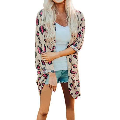Abrigo Largo de Manga Larga con Estampado de Leopardo para Mujer Camisa...