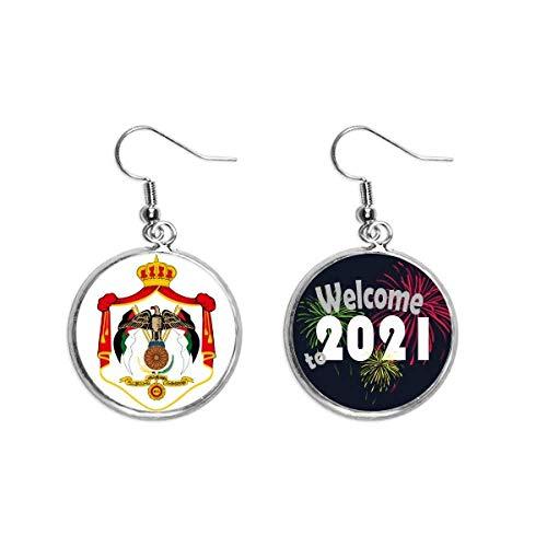 Jordan Asia National Emblema Oído Colgantes Pendientes Joyería 2021 Bendición