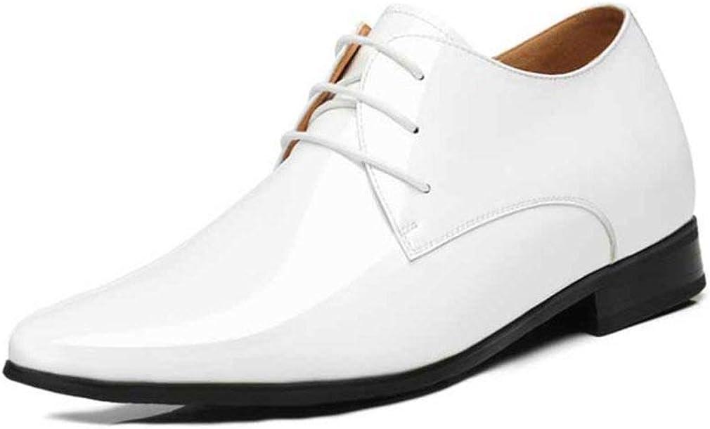 Zapatos de Vestir para Hombres Zapatos de Charol Impermeables con Cordones Punta Estrecha Zapatos de Derby internos aumentados Planos Fiesta de Bodas de Color sólido Zapatos de Negocios Masculinos