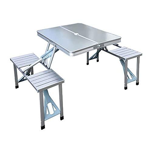 JFTY Tavolo Pieghevole in Lega di Alluminio e Sedia Set Tavolo da Picnic Portatile Tavolo e Sedia Un Pezzo(Color:Silver Gray)