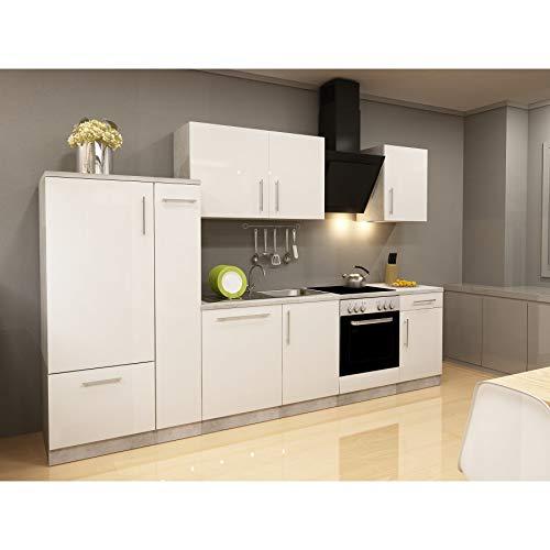 Küchenzeilen Komplett 310 inkl. Allen E-Geräten Apothekerschrank Kühlschrank Spülmaschiene Hochglanz Weiß/Beton
